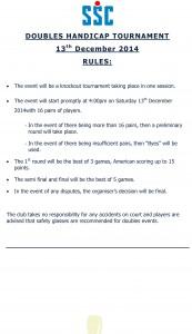 Doubles Tournament Rules